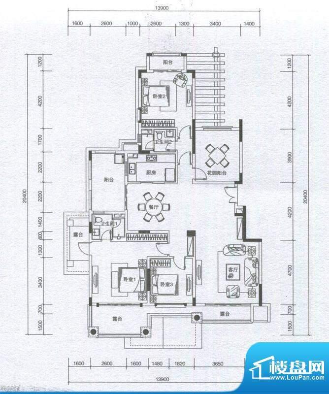 华发蔚蓝堡户型图L3户型 3室2厅面积:162.00平米