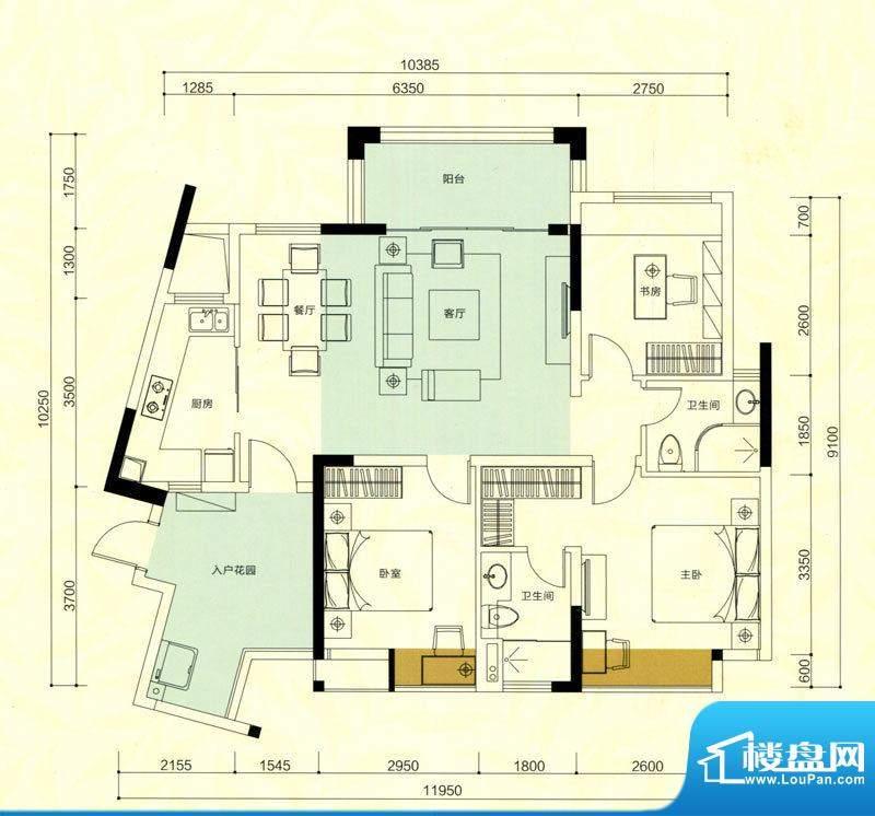 金鸿利嘉阁户型图3、4栋1单元0面积:95.15平米