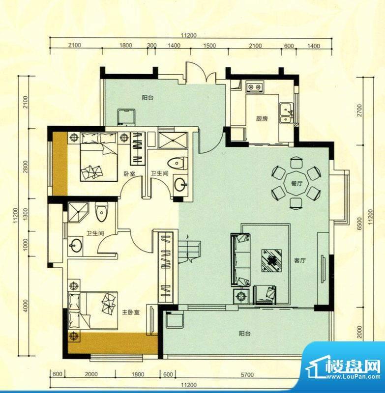 金鸿利嘉阁户型图1、2栋1单元1面积:181.92平米