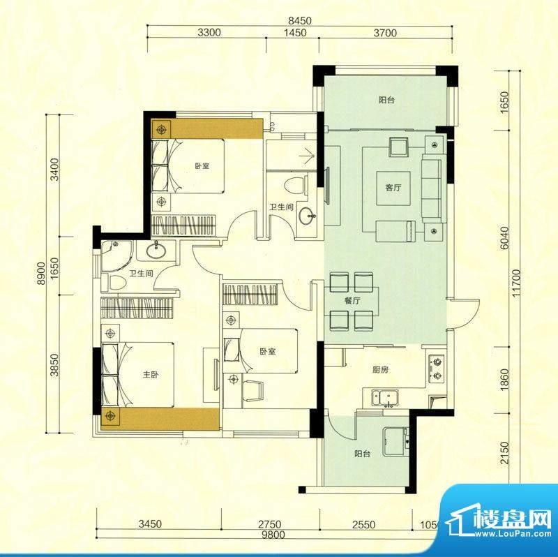 金鸿利嘉阁户型图3栋2单元04房面积:85.08平米