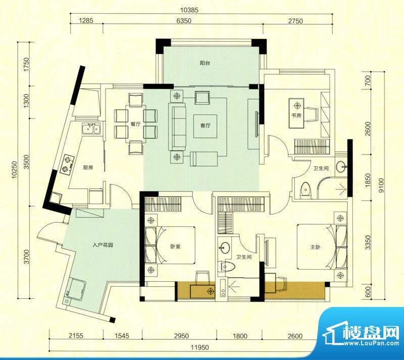 金鸿利嘉阁户型图3栋1单元04房面积:95.15平米