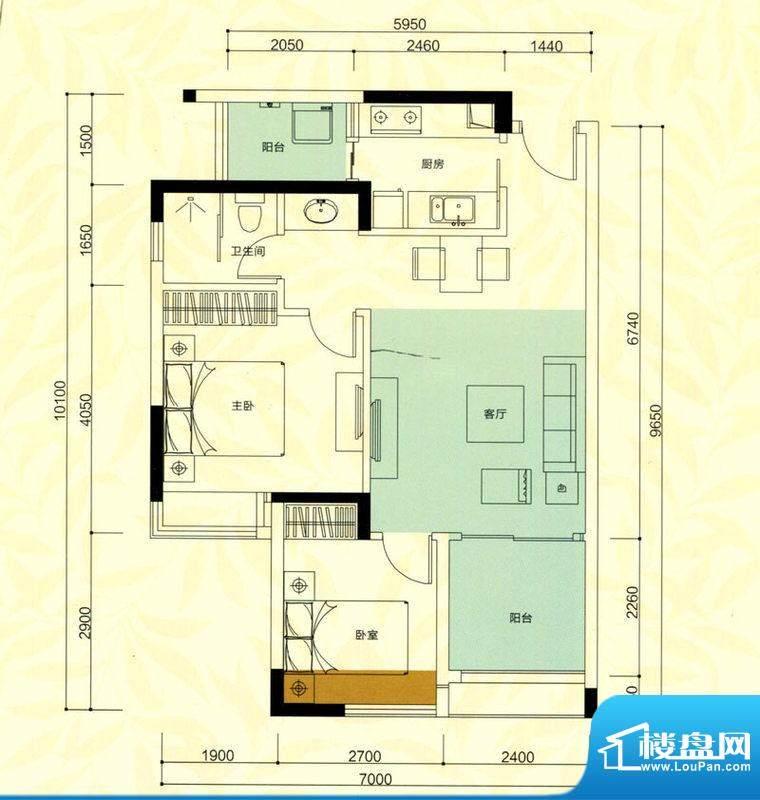 金鸿利嘉阁户型图3栋2单元03房面积:60.03平米