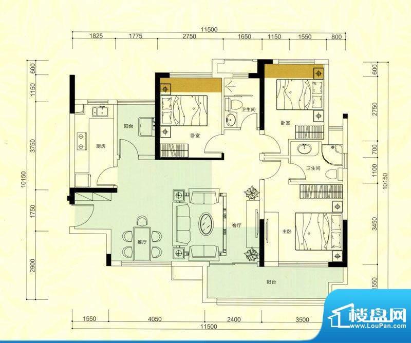 金鸿利嘉阁户型图1栋1单元03房面积:93.31平米