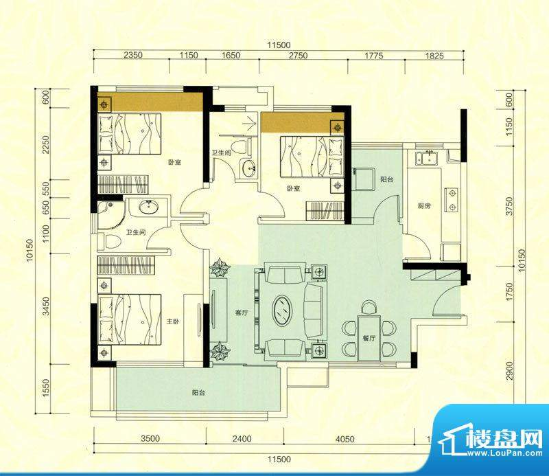 金鸿利嘉阁户型图1栋2单元03房面积:94.59平米