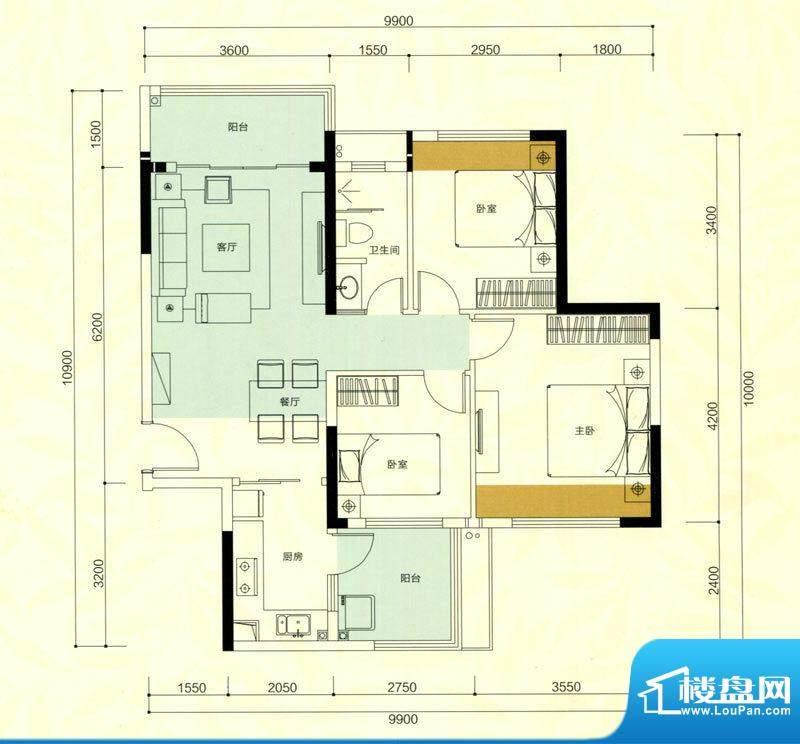 金鸿利嘉阁户型图1栋1单元01房面积:79.54平米
