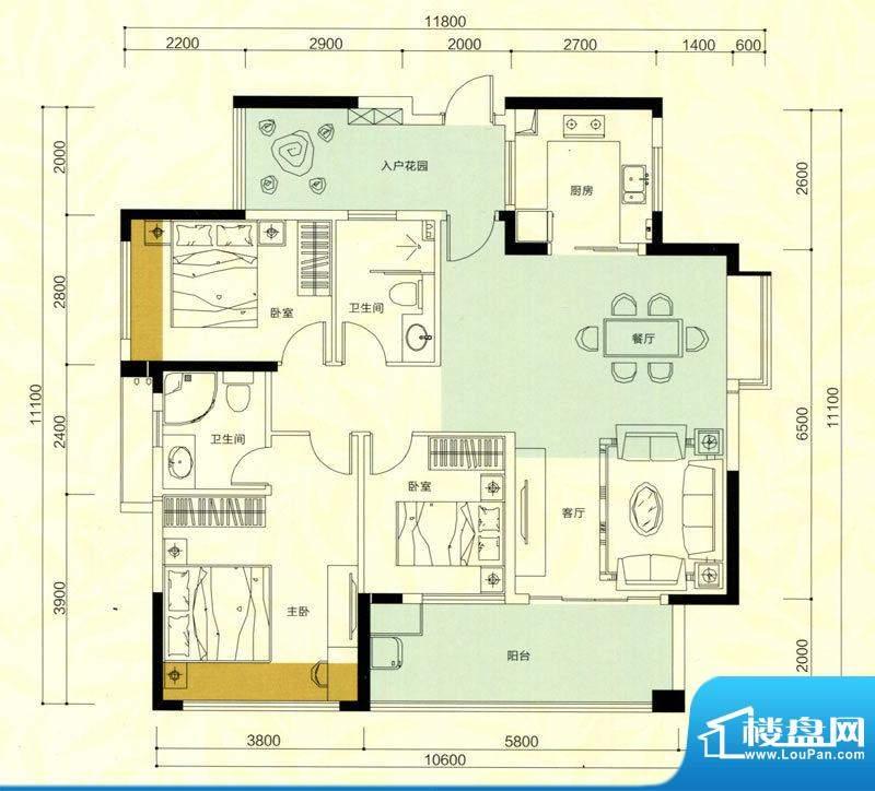 金鸿利嘉阁户型图1栋1单元02房面积:110.94平米