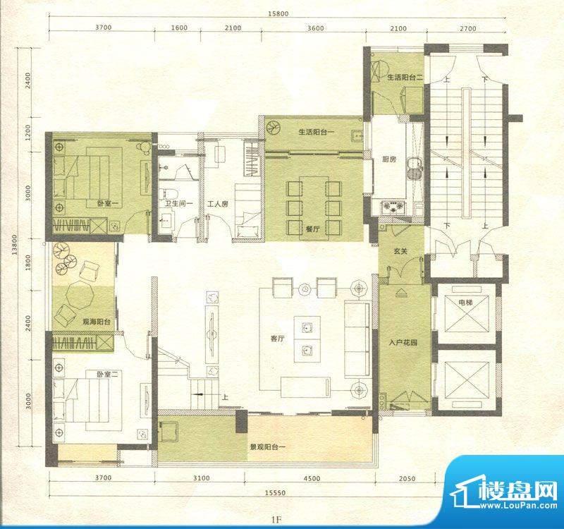 铭泰锦山户型图三栋、四栋叠翠面积:169.51平米