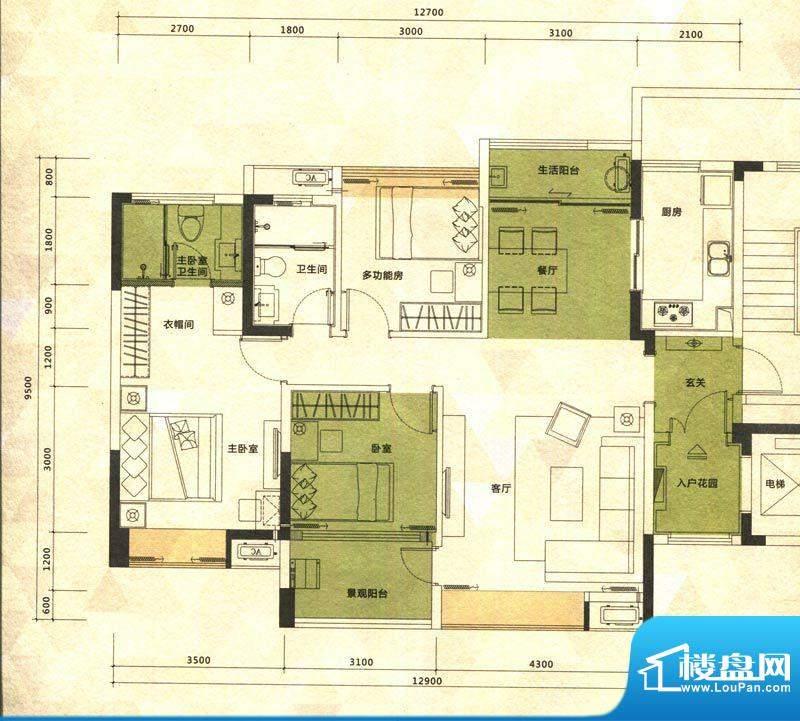 铭泰锦山户型图一栋临风阁户型面积:100.00平米