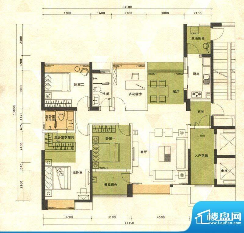 铭泰锦山户型图三栋、四栋晓雨面积:128.58平米