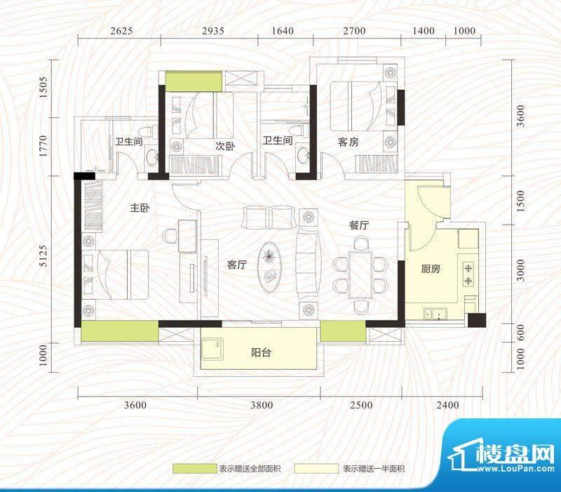 旭日印象户型图1单元01、04房/面积:101.89平米