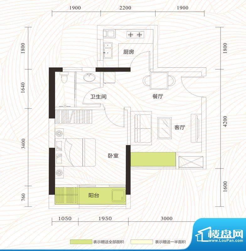 旭日印象户型图2单位02、05房 面积:41.40平米