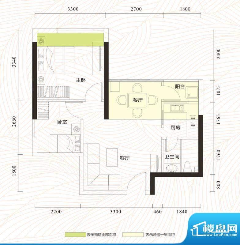 旭日印象户型图2单元01、06单位面积:52.10平米