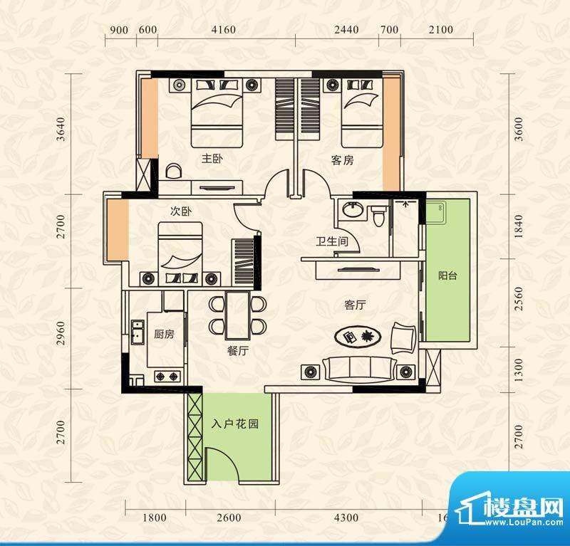 旭日印象户型图1栋1单元01房/3面积:100.09平米