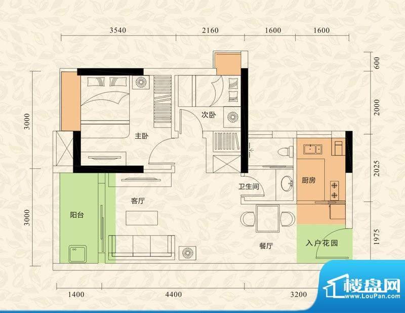 旭日印象户型图1栋1单元02、03面积:46.51平米