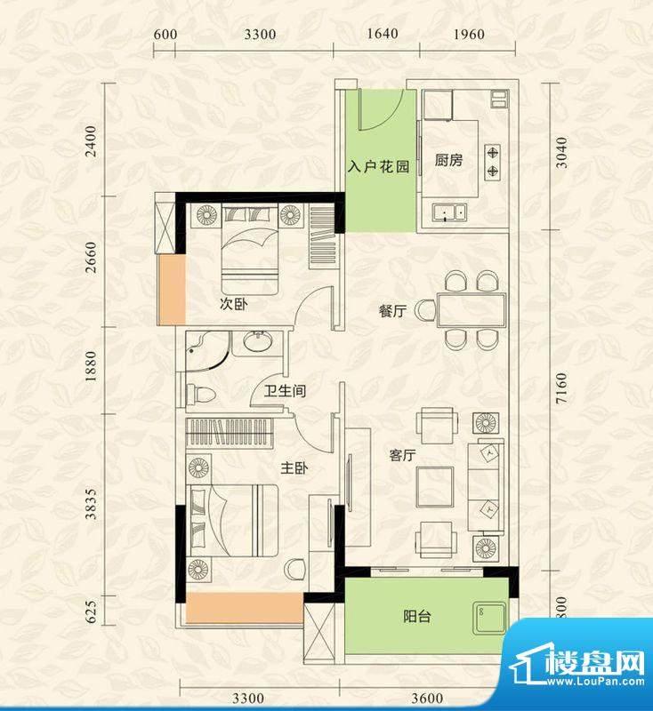旭日印象户型图1栋1单元04房/3面积:80.95平米