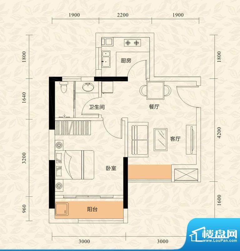 旭日印象户型图1栋2单元02、05面积:42.40平米