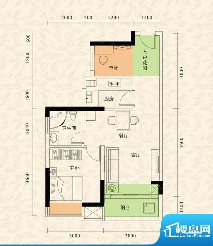 旭日印象户型图1栋2单元03、04面积:51.53平米