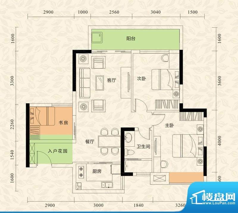 旭日印象户型图1栋1单元06房/3面积:83.00平米
