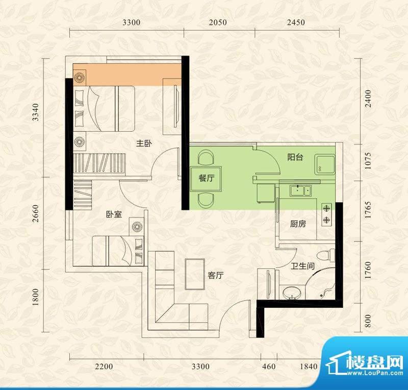 旭日印象户型图1栋2单元01、06面积:52.10平米