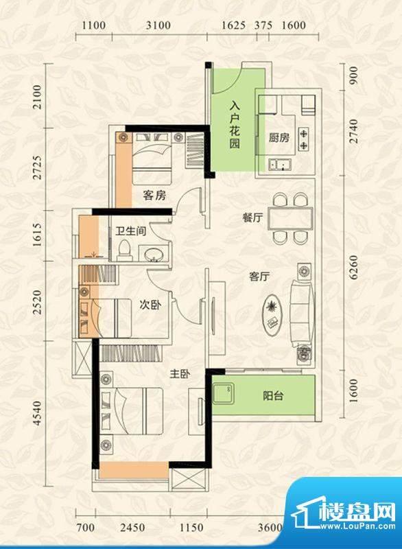 旭日印象户型图2栋1单元01、04面积:88.66平米