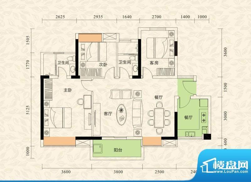 旭日印象户型图2栋1单元01、04面积:101.89平米