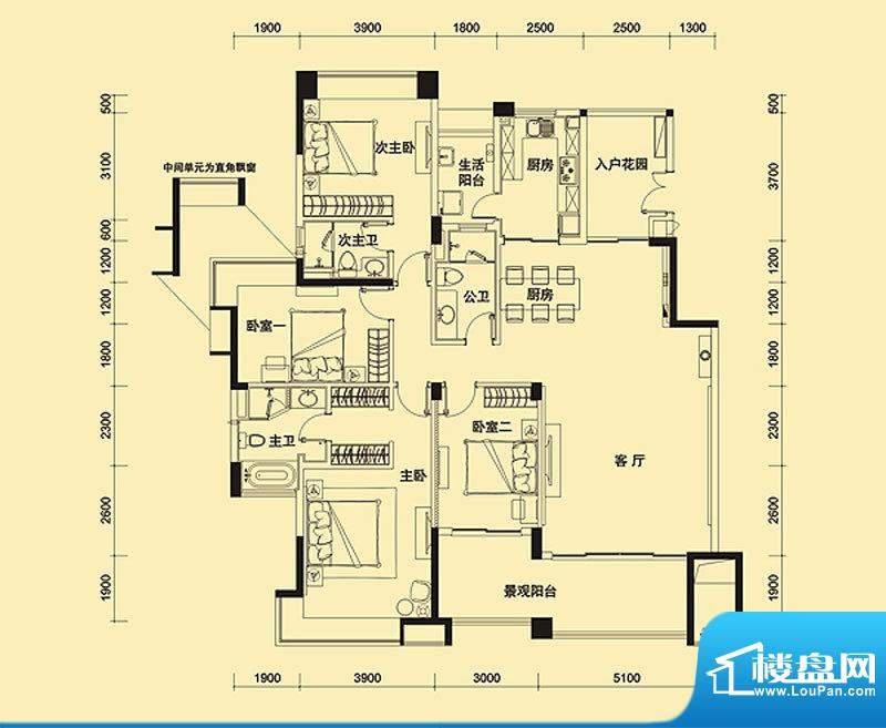 远大美域四期户型图紫檀金殿A户面积:187.00平米