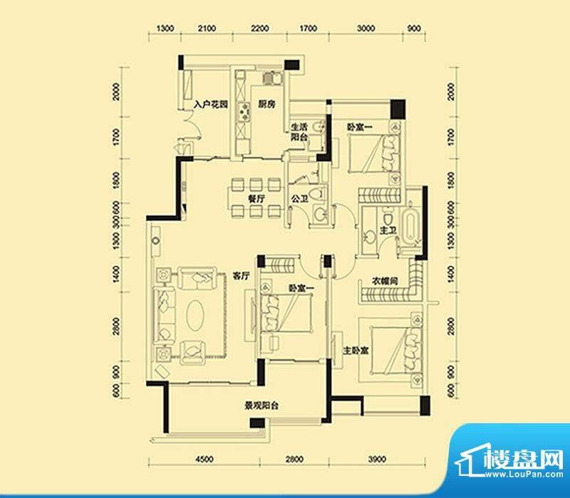 远大美域四期户型图紫檀金殿B户面积:142.00平米