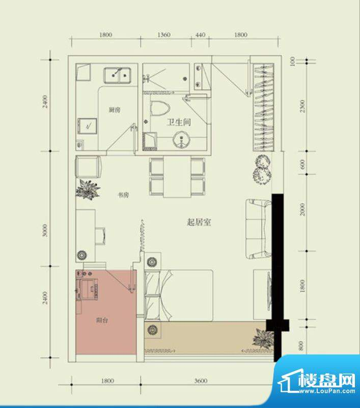 国子间户型图A户型(05/06房)面积:49.27平米