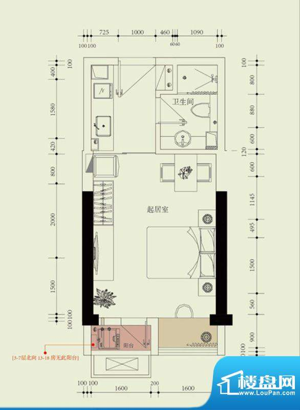 国子间户型图B户型 1室1厅1卫1面积:34.00平米