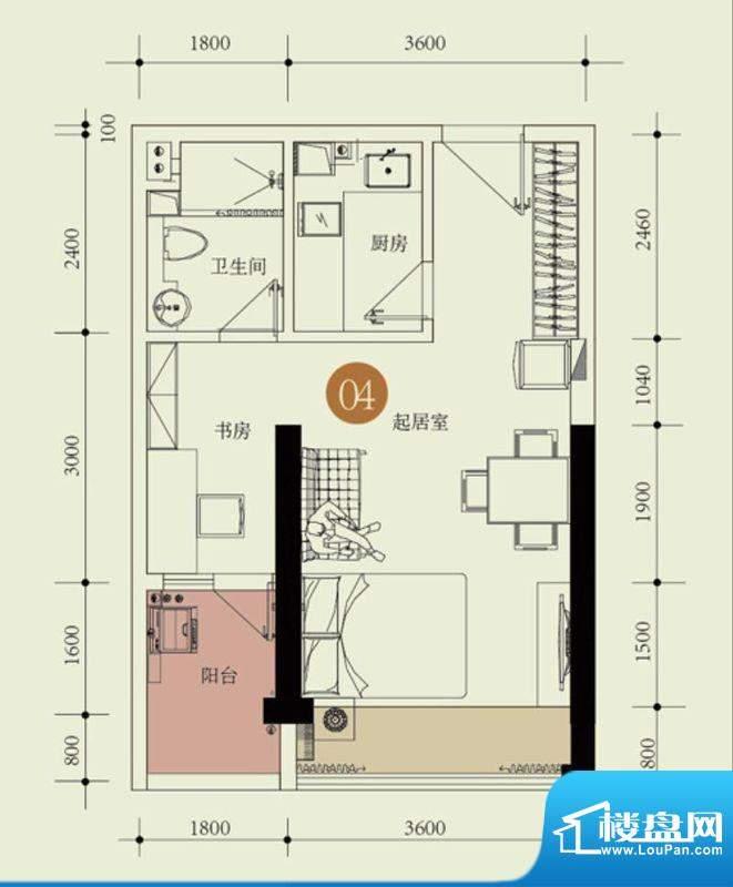 国子间户型图C户型04房 1室2厅面积:49.27平米