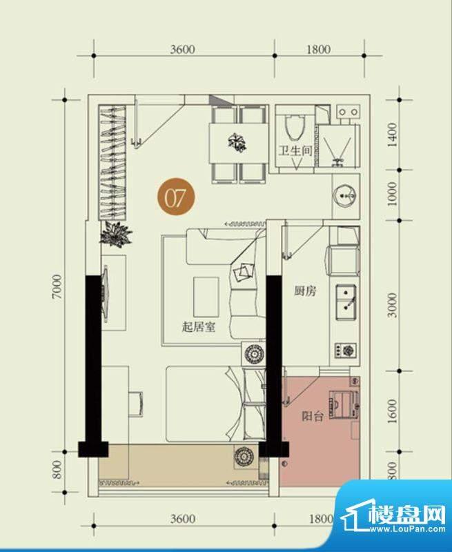 国子间户型图C户型07房 1室2厅面积:49.27平米
