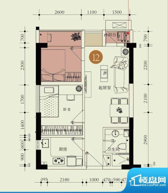 国子间户型图D户型12房 1室2厅面积:51.30平米