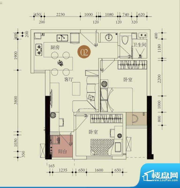 国子间户型图E户型02房 2室1厅面积:62.13平米
