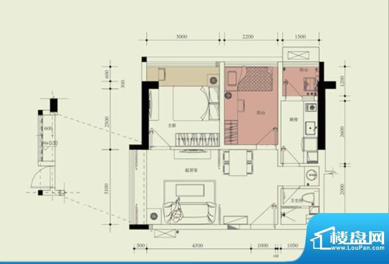 国子间户型图F户型(19/22房)面积:55.92平米