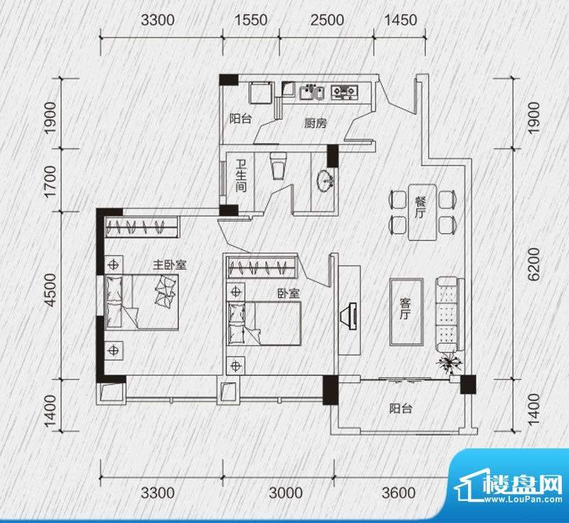 龙凤春晓户型图A1 2室2厅1卫1厨面积:79.78平米