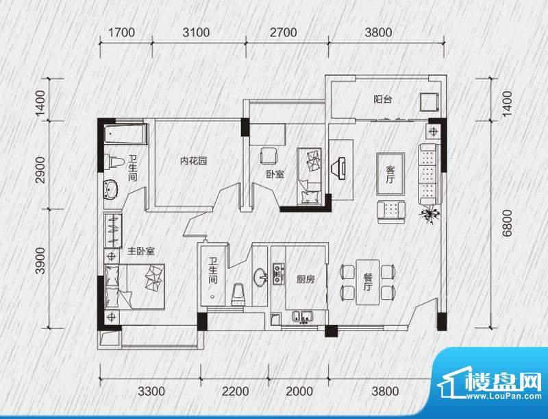 龙凤春晓户型图B1 3室2厅2卫1厨面积:87.54平米