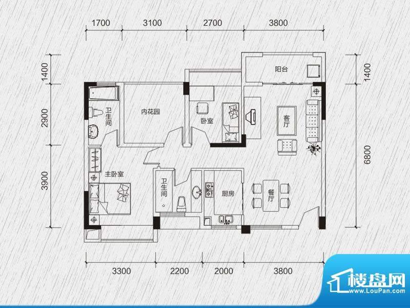 龙凤春晓户型图5-10栋01、02房面积:78.66平米