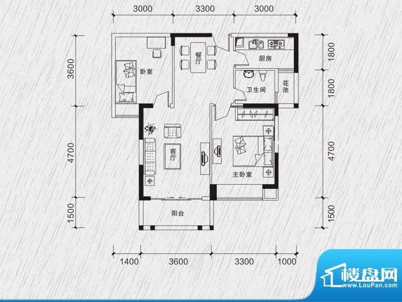 龙凤春晓户型图1、3、4栋01、0面积:79.54平米
