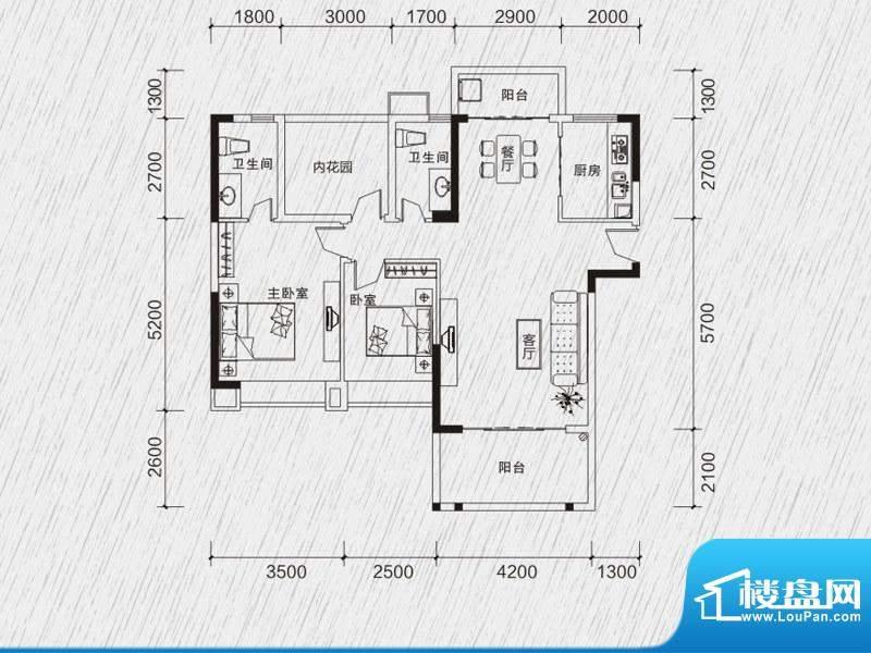 龙凤春晓户型图2栋02房 3室2厅面积:108.69平米