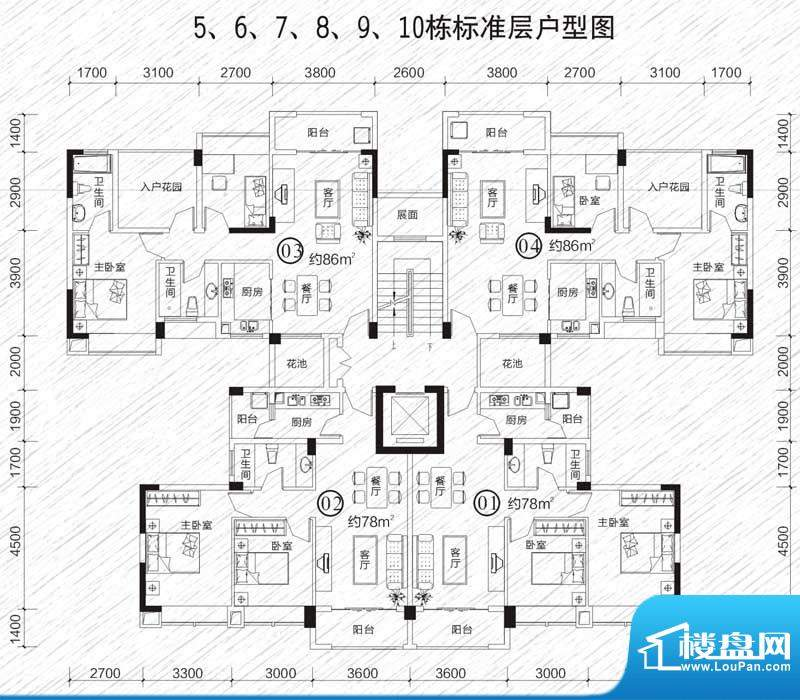 龙凤春晓户型图5栋~10栋 2室2厅面积:86.00平米