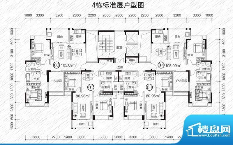 龙凤春晓户型图4栋标准层 2室2面积:105.09平米