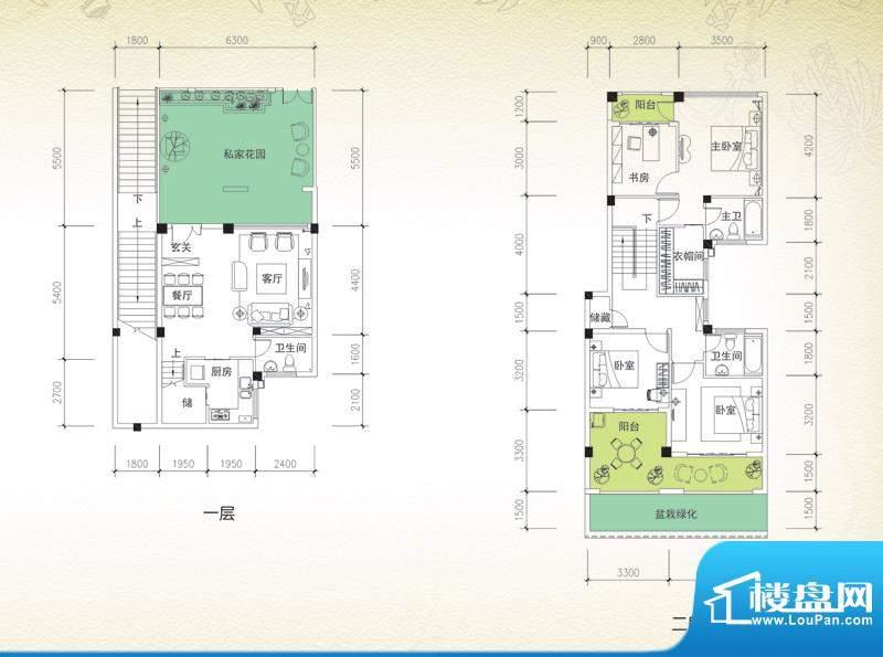 岭峰国际户型图A-1a 3室2厅3卫面积:145.34平米