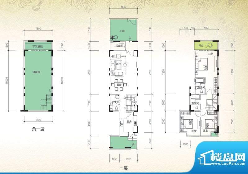 岭峰国际户型图B-1a 3室2厅3卫面积:131.58平米