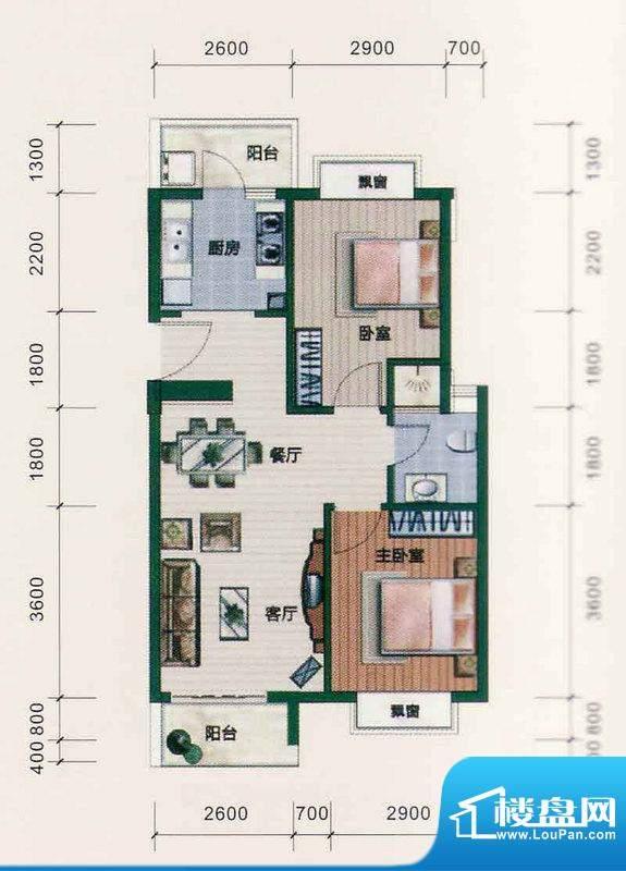 西江月户型图6~18栋1~6层A2户型面积:66.51平米