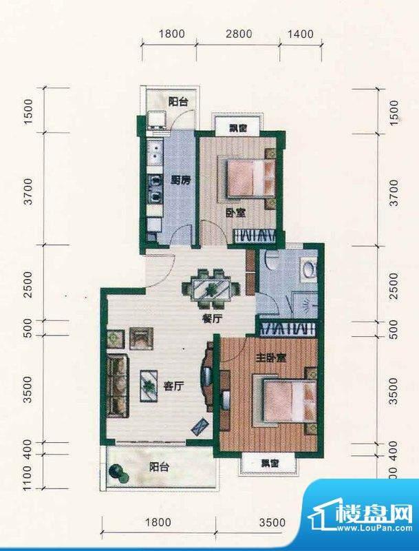 西江月户型图6~18栋1~6层C2户型面积:76.17平米