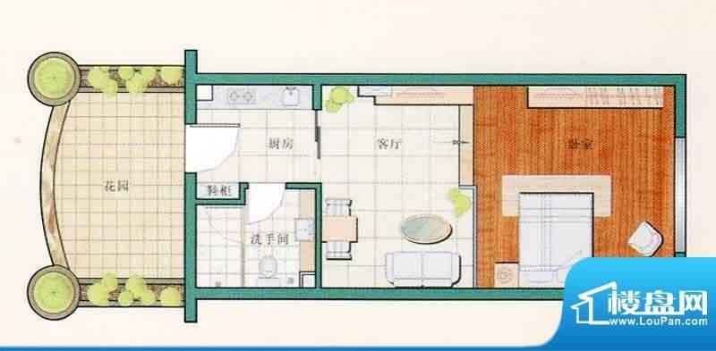 西江月户型图26栋公寓 1室1厅1面积:44.21平米
