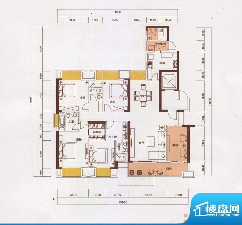 新光御景山户型图3栋01户型 5室面积:203.00平米
