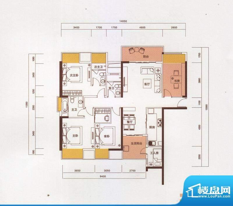 新光御景山户型图5栋01户型 4室面积:160.00平米