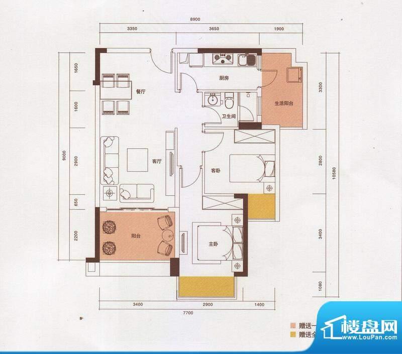 新光御景山户型图4栋03户型 2室面积:82.00平米