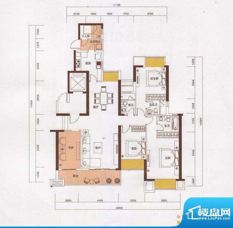 新光御景山户型图3栋02户型 4室面积:172.00平米